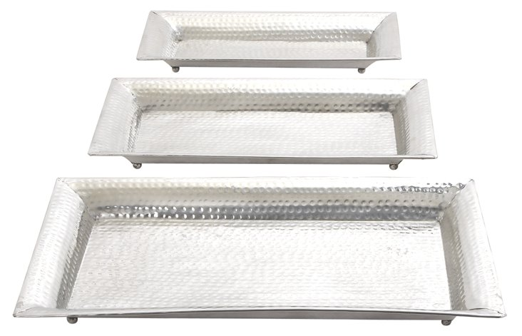 Asst. of 3 Hammered Aluminum Trays