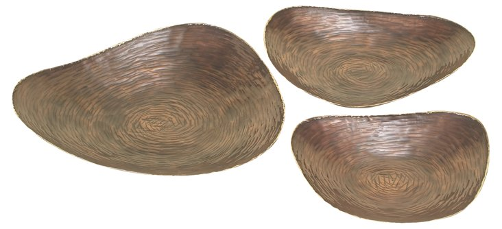 Organic-Shaped Copper Trays, Asst. of 3