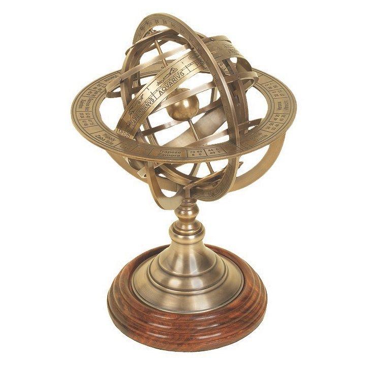 """11"""" Brass Armillary Globe"""