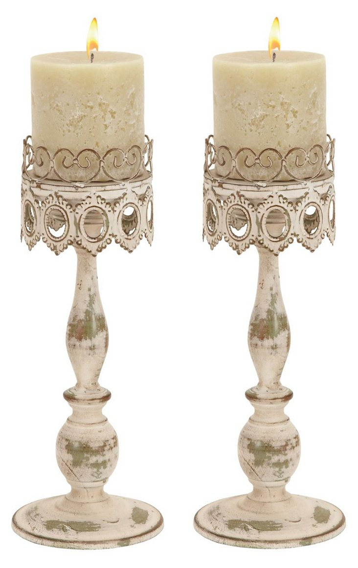 S/2 Cottage Candleholders