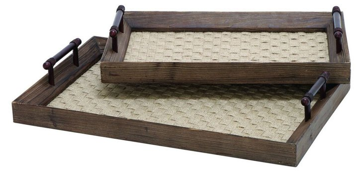Asst. of 2 Wood & Woven Trays