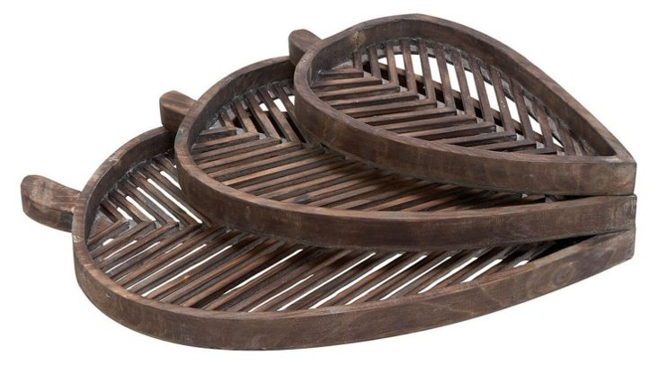 Wooden Leaf Trays, Asst. of 3