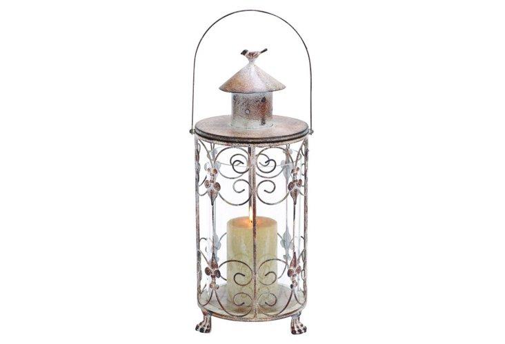 """21"""" Lantern w/ Bird Accent"""
