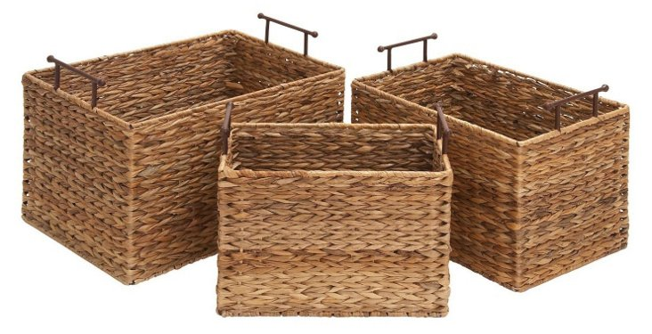 S/3 Rectangular Wicker Baskets