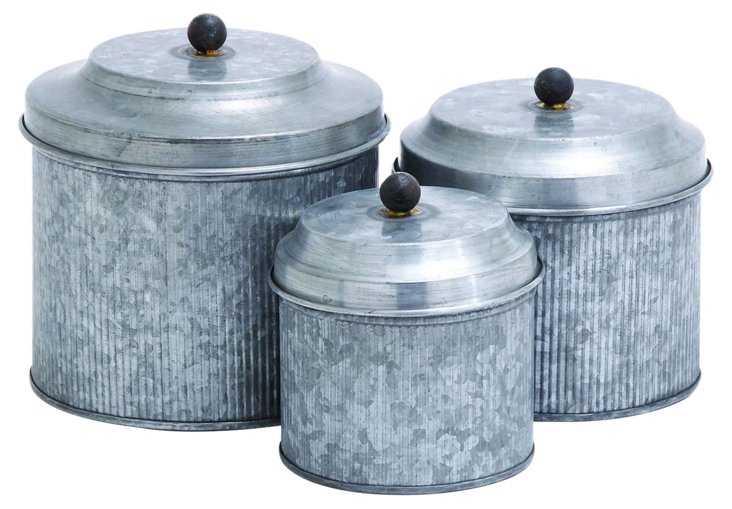 S/3 Asst. Wide Galvanized Canisters