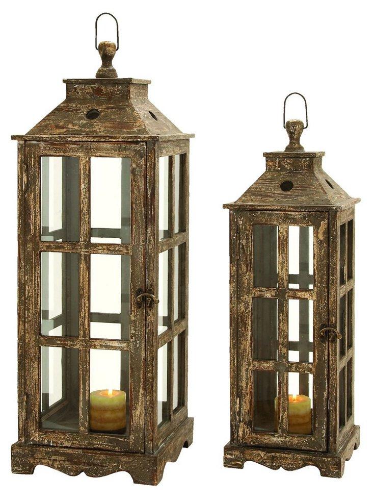 Asst. of 2 Pastoral Lanterns, Brown