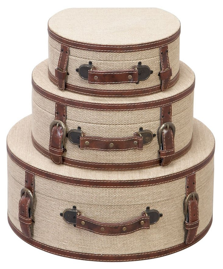 Round Burlap Boxes, Asst. of 3