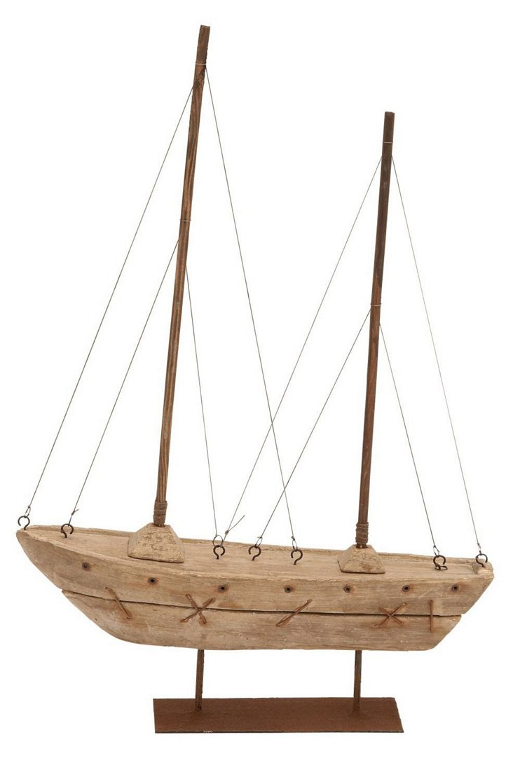 "22"" Wooden Sailboat, Brown"