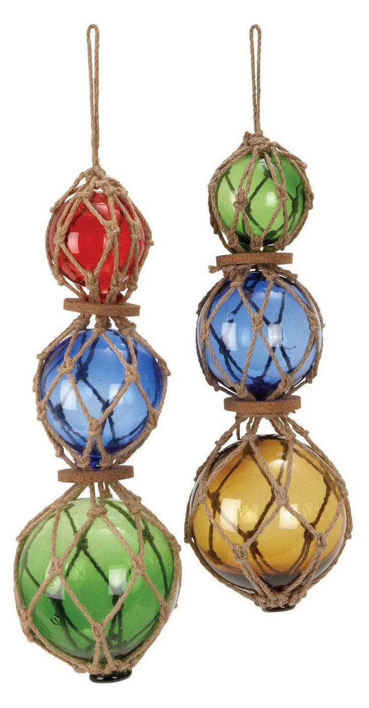 Asst. of 2 Large Glass & Jute Floats