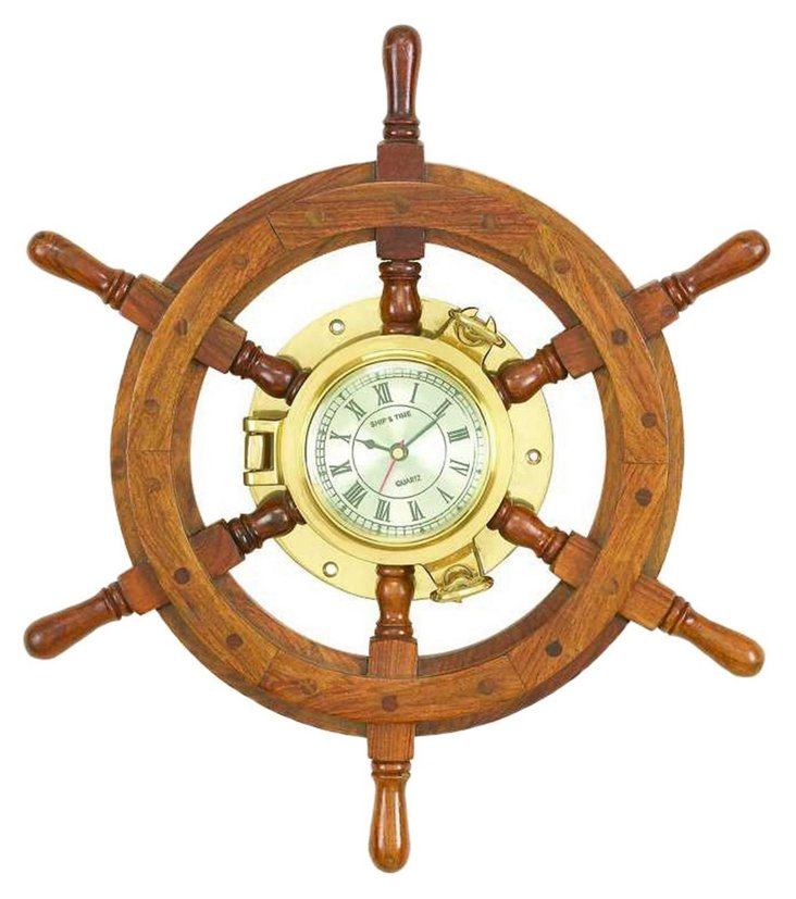 Wood Ship's Wheel Clock