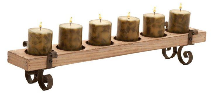 "28"" Wood-Plank Candleholder"