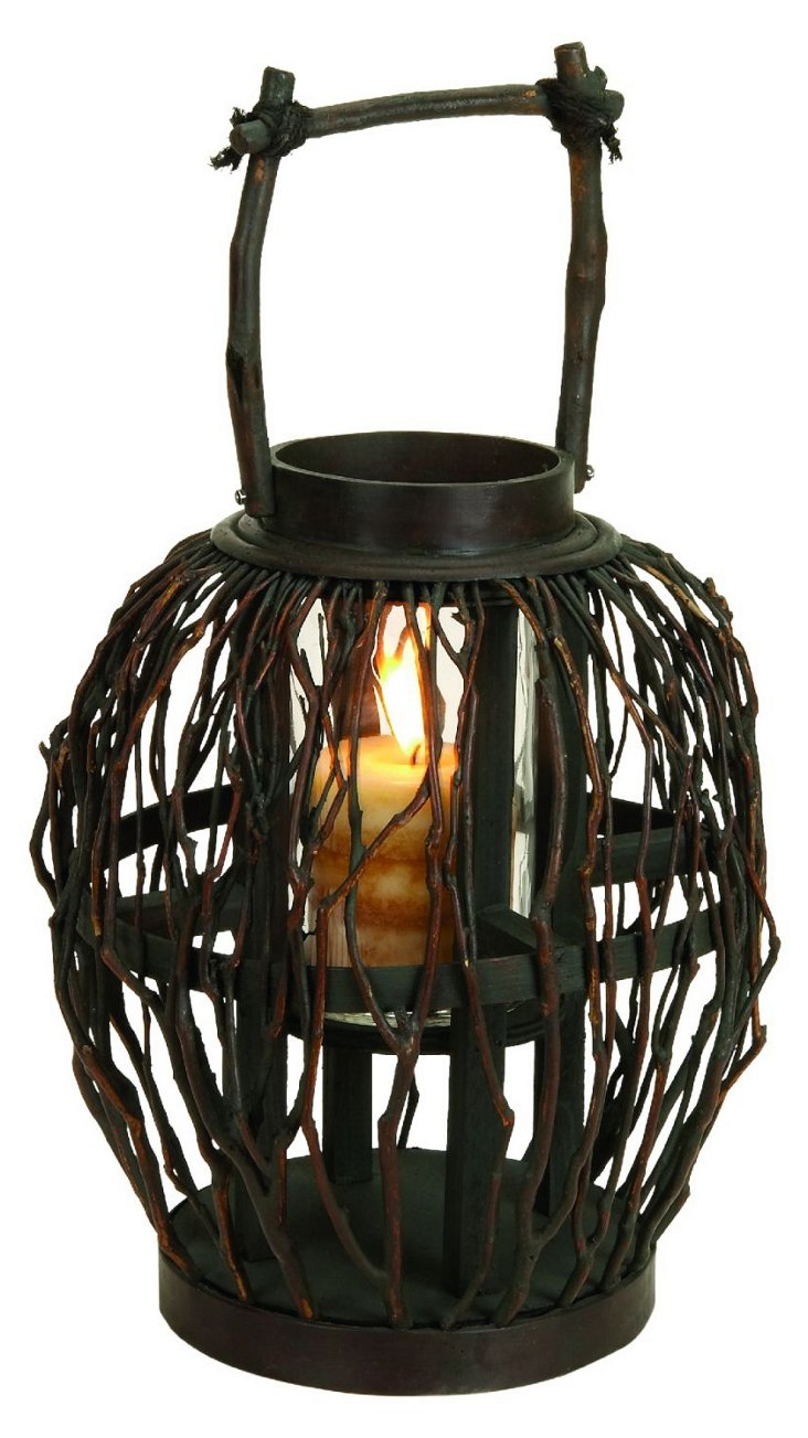 "17"" Bamboo & Glass Lantern"