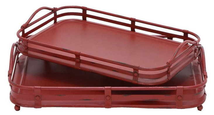 Asst. of 2 Industrial Trays, Red