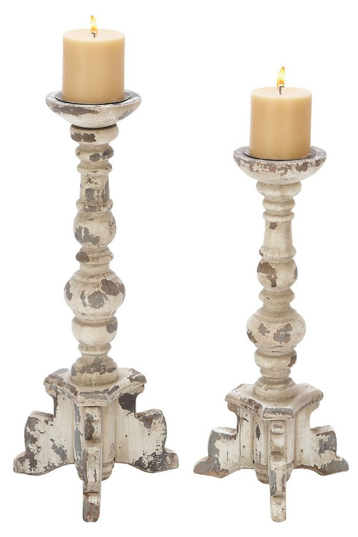 Wood Cottage Candleholders, Asst. of 2