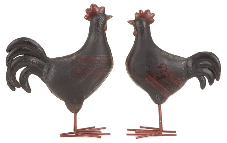 S/2 Farmhouse Roosters