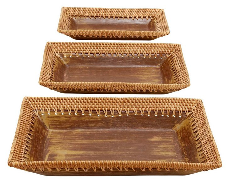 Ceramic & Rattan Trays, Asst. of 3