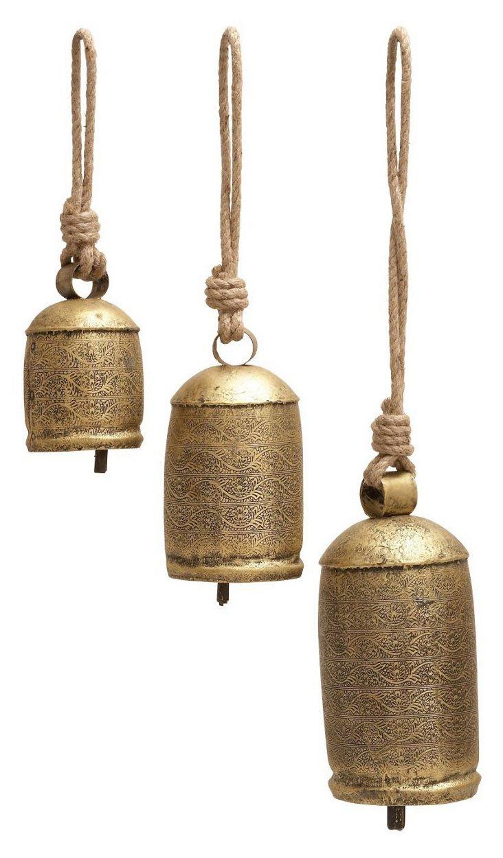 Asst. of 3 Rope Printed Herd Bells