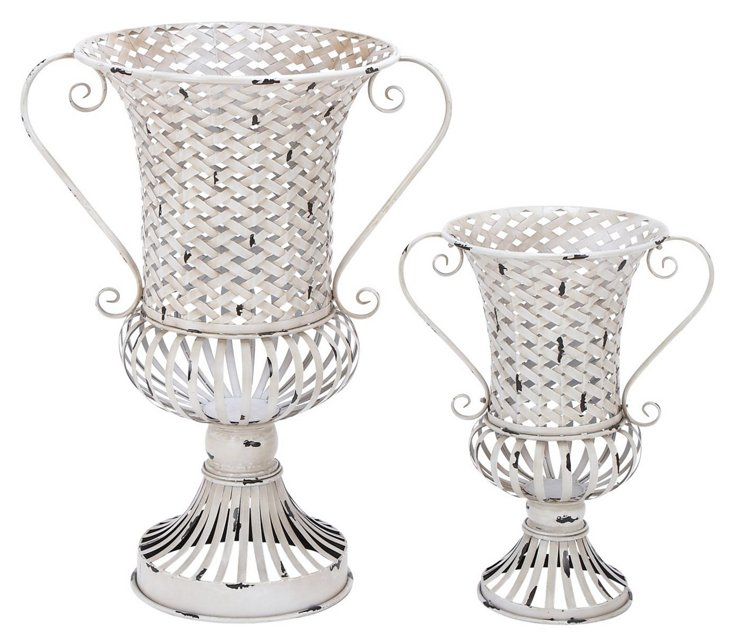 S/2 Woven Metal Urns, White