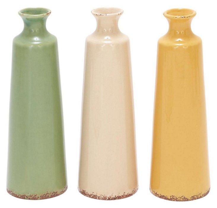 """15"""" Summer Citrus Vases, Asst. of 3"""