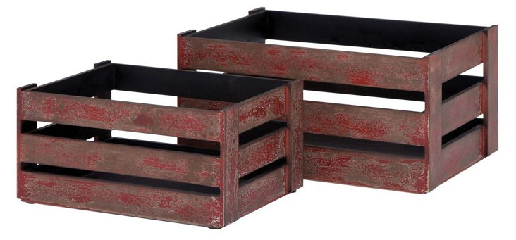 Asst. of 2 Wood Crates, Red