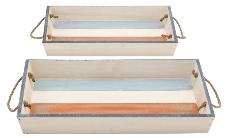 White & Blue Trays, Asst. of 2