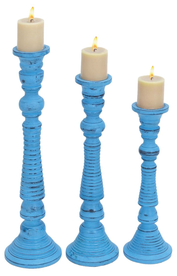S/3 Classic Tall Candleholders, Blue