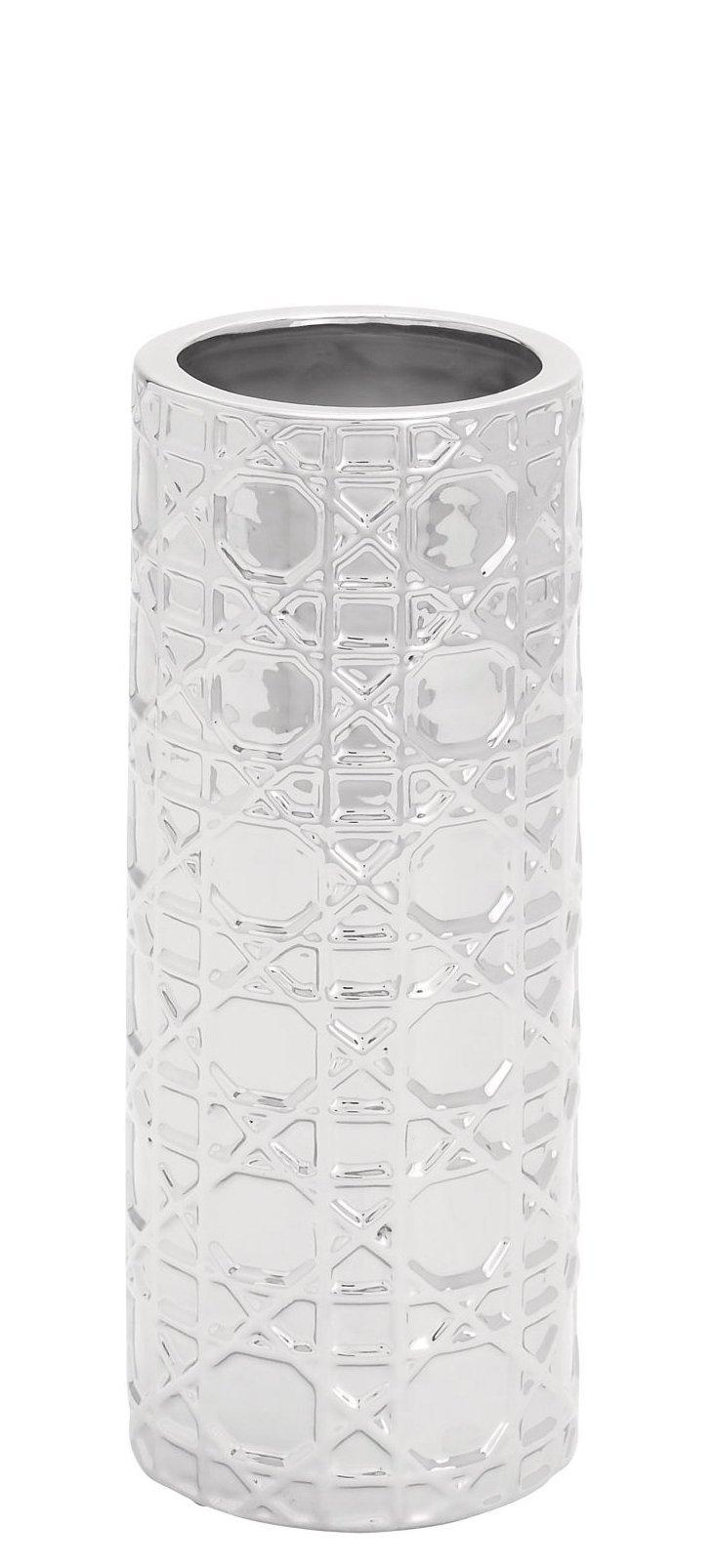 """13"""" Ceramic Silver Vase"""
