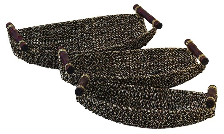 Sea Grass Canoe Baskets, Asst. of 3