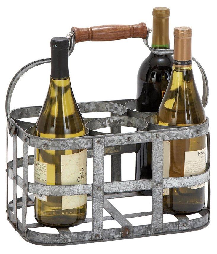 Galvanized Wine Holder Basket