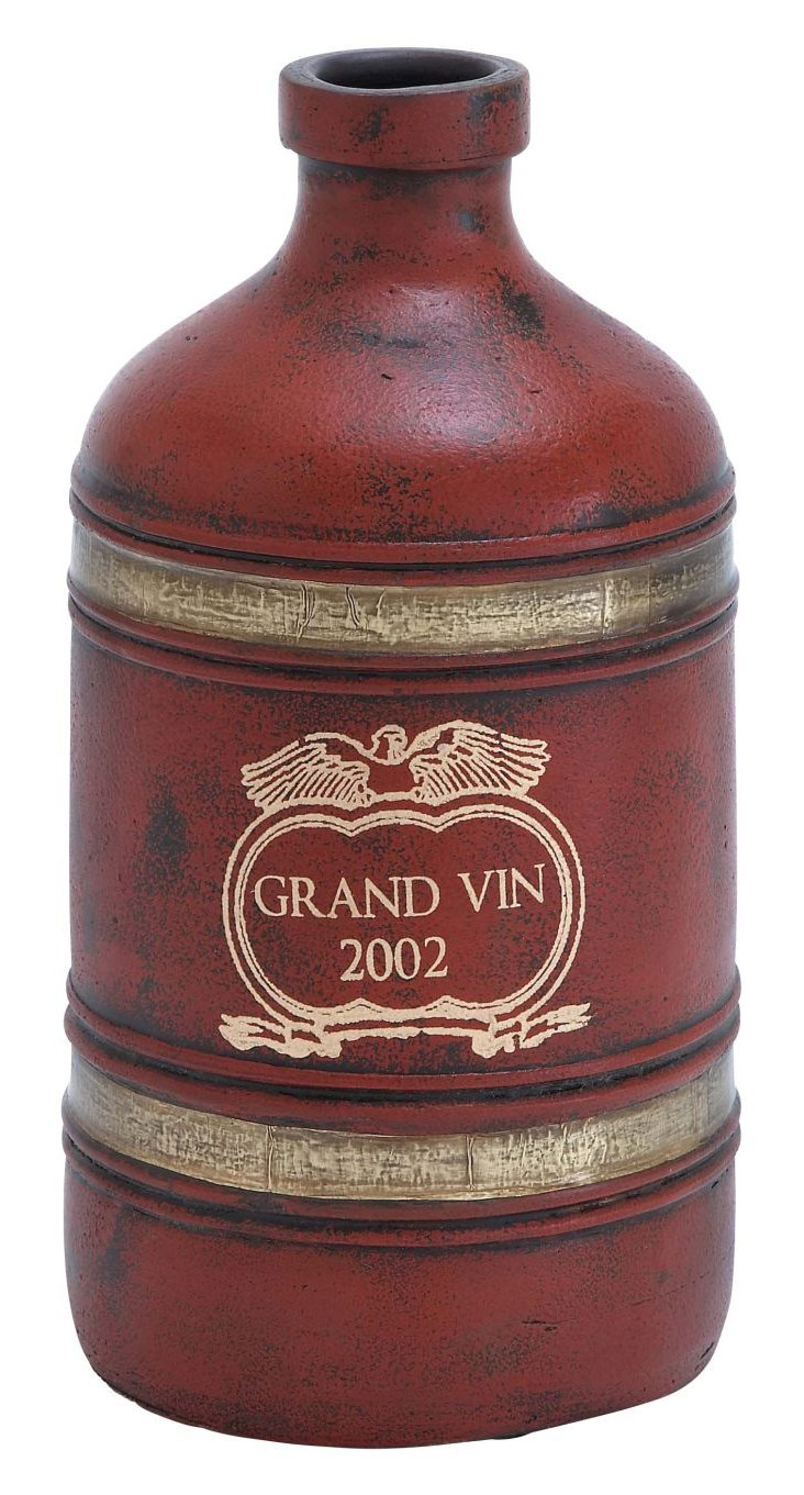 "14"" Terracotta Grand Vin Vase, Red"
