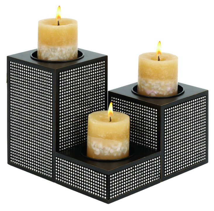 S/3 Block-Out Candleholders