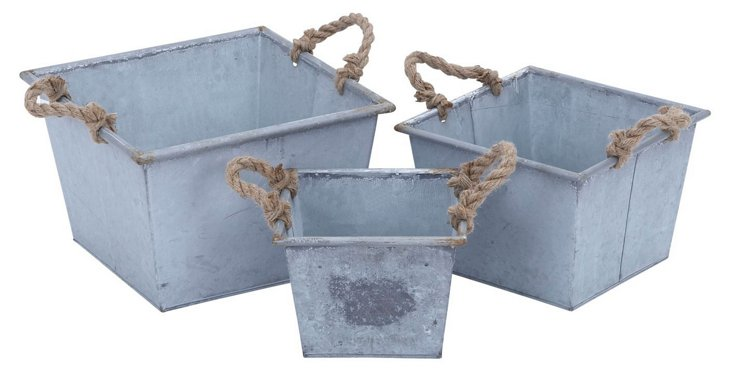 S/3 Asst. Galvanized Rope Planters