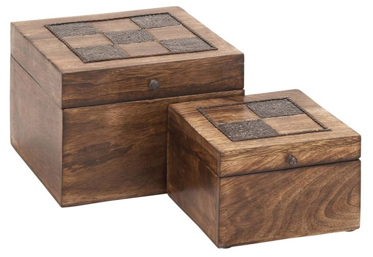 Wooden Checker Boxes, Asst. of 2