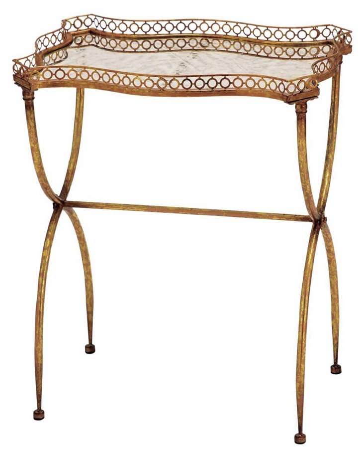 Huckleberry Antique Glass Tray Table