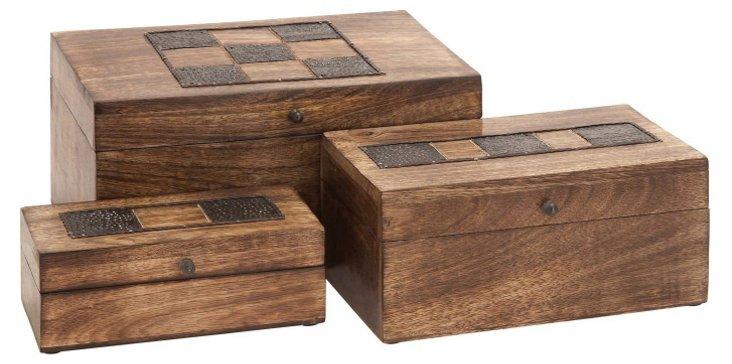 Wooden Checker Boxes, Asst. of 3