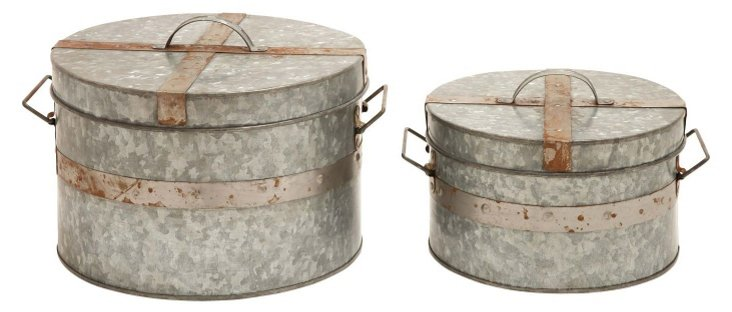 Asst. of 2 Galvanized Round Boxes