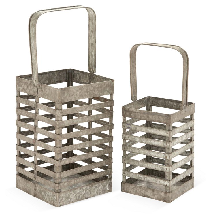 Asst. of 2 Caged Lantern w/ Handle