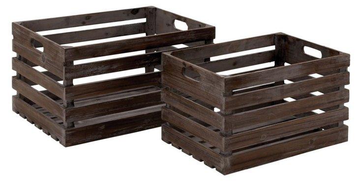 S/2 Wood Wine Crates