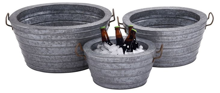Galvanized Wine Tubs, Asst. of 3