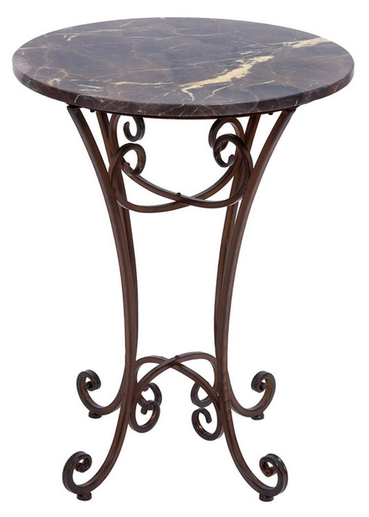 Flannery Marble Accent Table, Bronze