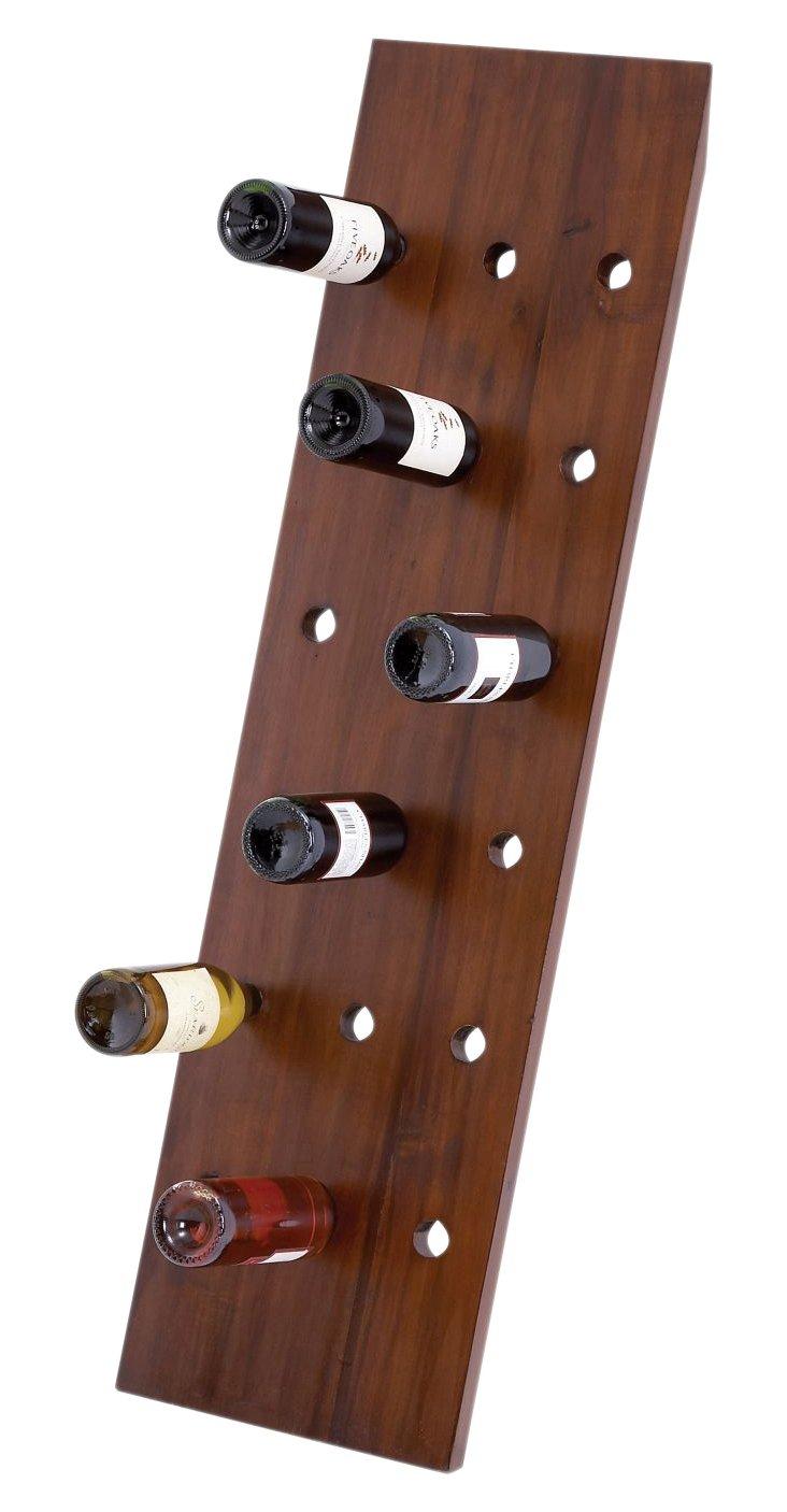"""50"""" Leaning Dark Wood Wine Rack"""