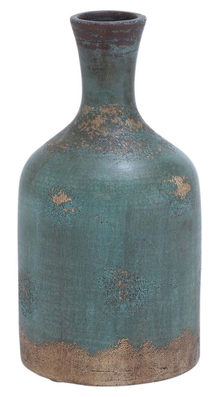 "15"" Terracotta Bottle Vase"