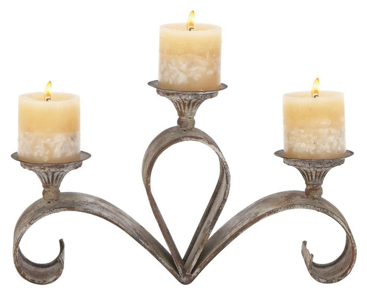 Curved Metal Candleholder
