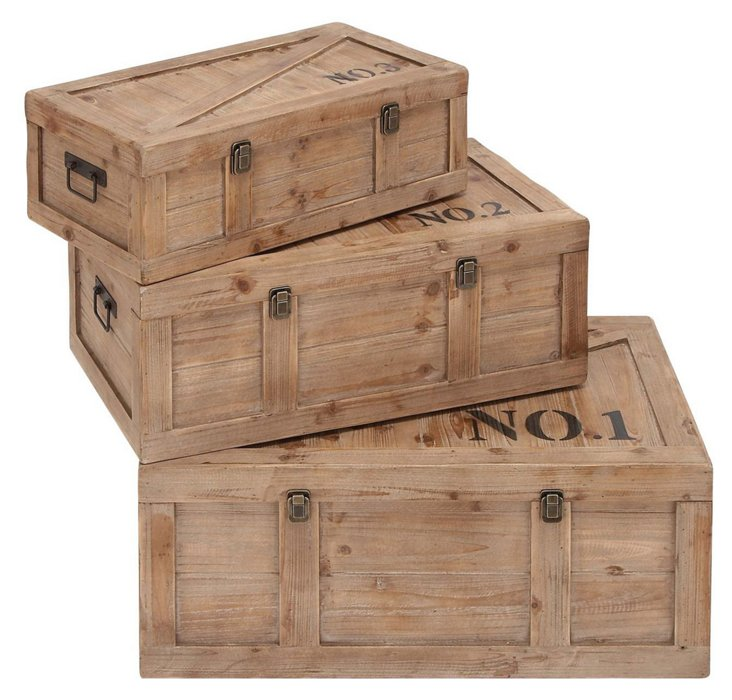 S/3 Assorted Natural Wood Crate Trunks