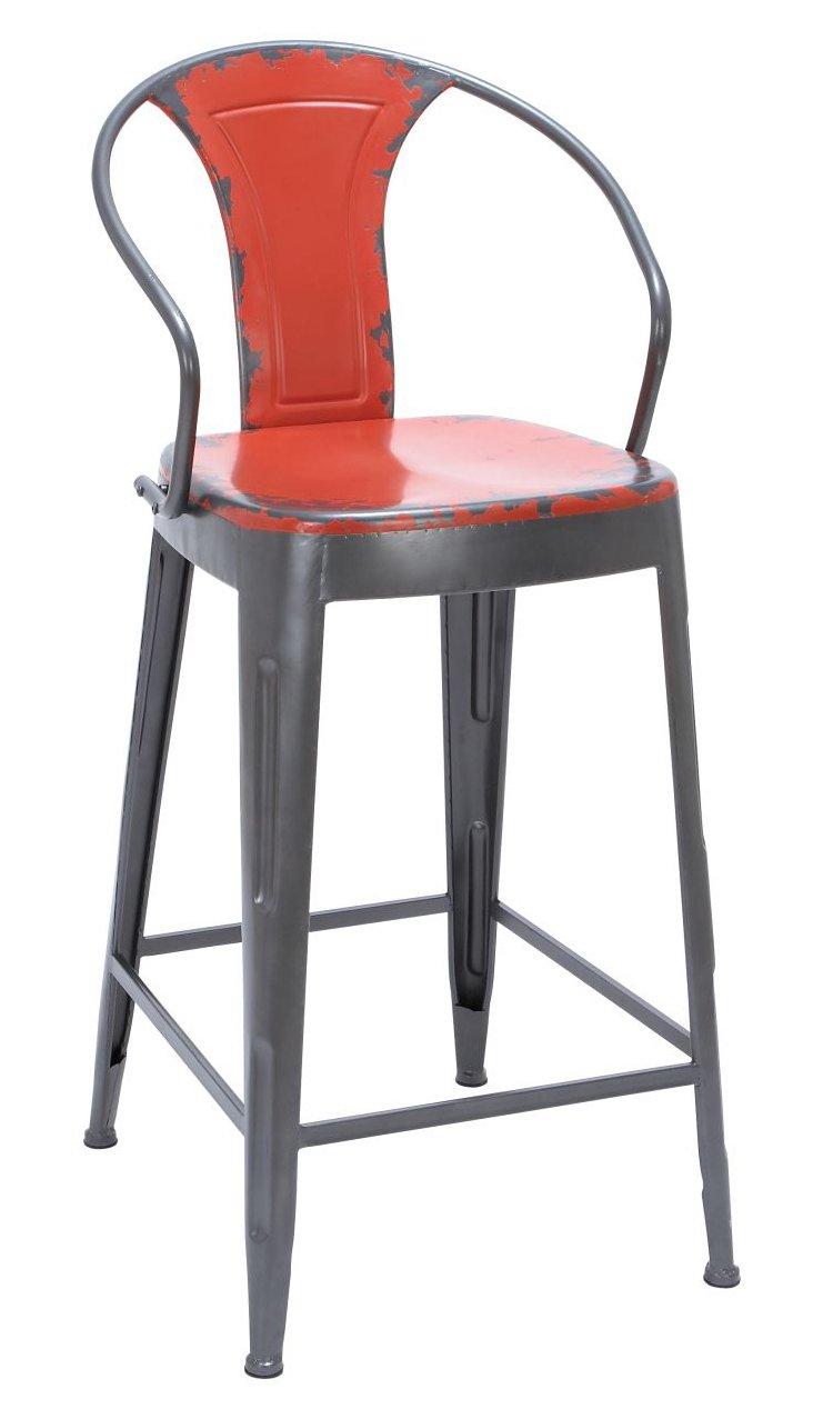 Hugo Metal Bar Chair, Red/Slate