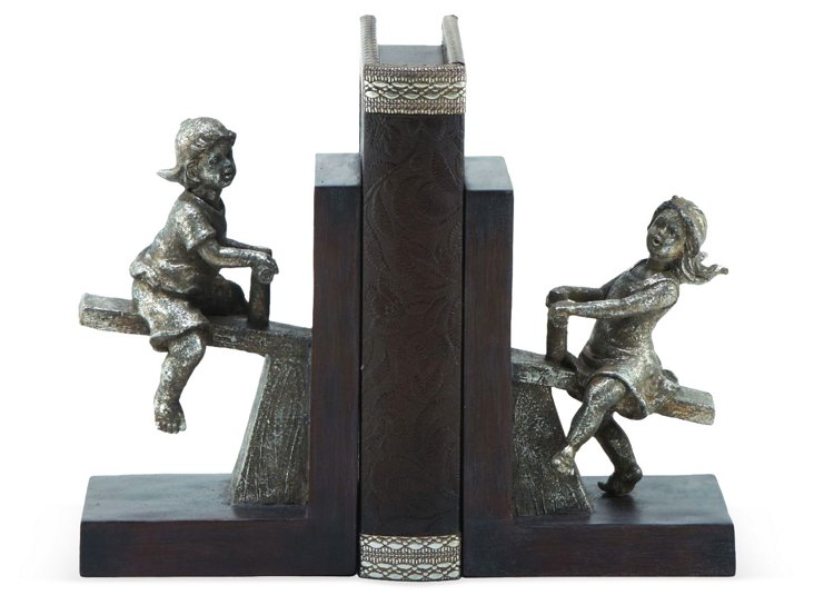 Pair of Children Playing Bookends