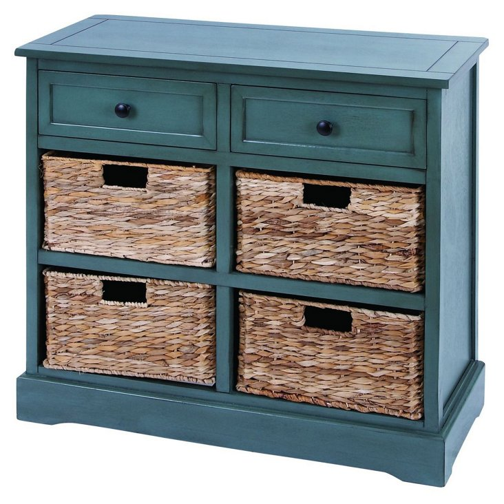 Laura Four-Drawer Cabinet, Natural/Teal