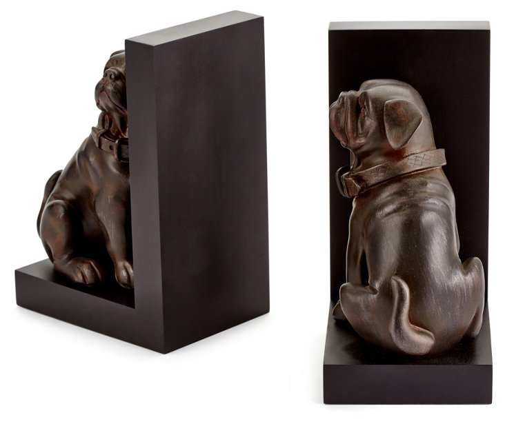 Pair of Dog Bookends, Black