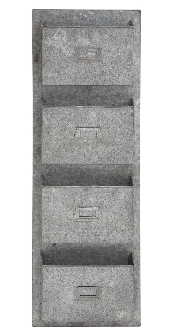 4-Pocket Metal Galvanized Wall Unit