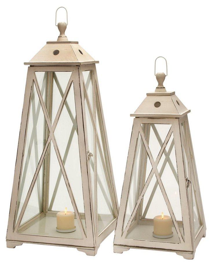 Asst. of 2 Wooden Lanterns,  Beige